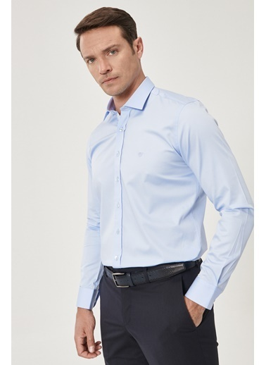 Beymen Business Slim Fit Saten Gömlek 4B2000000101 Mavi